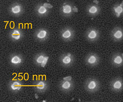 This scanning electron microscope image shows the nanomagnet array on a pre-commercial STT-MRAM prototype. (Image courtesy of Holger Schmidt)