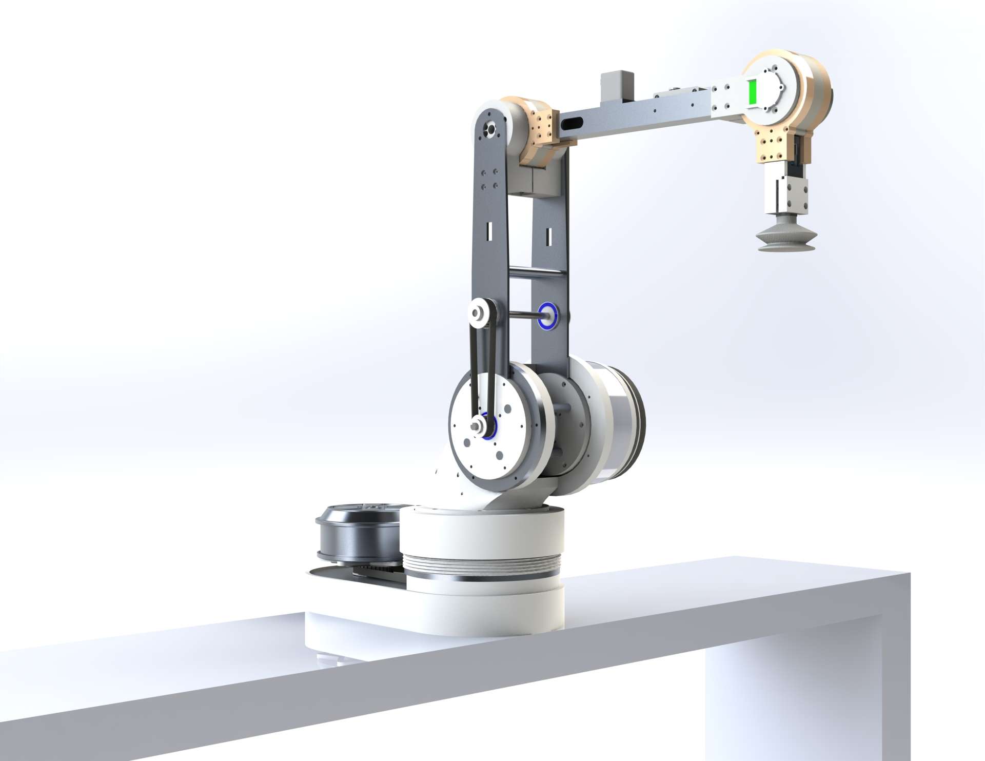 A rendering of the ARbot, a thin machine with a long mechanical arm