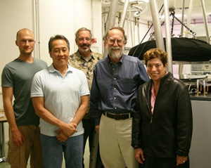 David Fryauf, Nobuhiko Kobayashi, Michael Bolte, Andrew Phillips, and Claire Max (l to r), with the new system in the background.