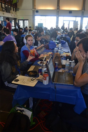 More than 500 people spent a January weekend in the Porter Dining Hall coding new applications for CruzHacks 2018. Photo: Rilee Hillman.