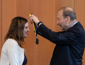 Chancellor George Blumenthal honored Olena Vaske as the inaugural holder of the the Colligan Presidential Chair in Pediatric Genomics. (Photos by Steve Kurtz)