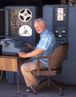 "Harry Huskey with the Bendix G15, the first ""personal computer."""