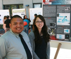 Hartnell College students Rex Niduaza and Annie O presented their work at UCSC on an adaptive optics microscopy project.