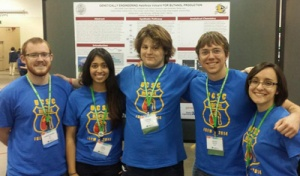 UC Santa Cruz iGEM team members posed with their poster at the iGEM Giant Jamboree in Boston, where they won a bronze medal. Left to right: Chris Lee, Jazel Hernandez, Dominic Schenone, Kevin Sweeney, and Renee Jocic.