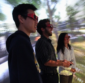 The CAVE Lab allows multiple users to become fully immersed in the same virtual environment at the same time. (Photos by C. Lagattuta)