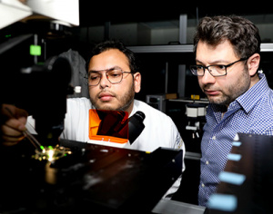 UC Santa Cruz engineers Ahsan Habib (left) and Ali Yanik have developed ultrasensitive nanoscale optical probes to monitor the bioelectric activity of neurons and other electrogenic cells. (Photo by C. Lagattuta)