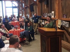 Winnie Hoskyns-Abraham (Stevenson '69, anthropology) regaled a crowd of Pioneer Alumni with stories from the past 50 years at a special reunion celebration held at the recently restored Hay Barn. Photo by Dan White.