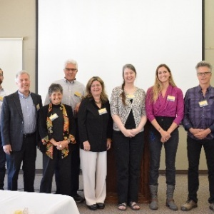 With Chancellor George Blumenthal, far right, the Excellence in Teaching Award winners for 2016 are, from left, Matthew Lasar, Dean Mathiowetz, Glenn Millhauser, Faye Crosby, Douglas Bonett, Melissa Sanders-Self, Tracy Larrabee, Caitlin Binder, and Richard Mitchell. (Photo byLeanna Parsons)