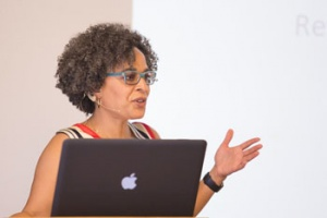 "Gina Dent, associate professor of feminist studies, history of consciousness, and legal studies, gave a ""Teach-In"" entitled ""Ex Post Facto: How To Respond To A 'Post-Truth' World."