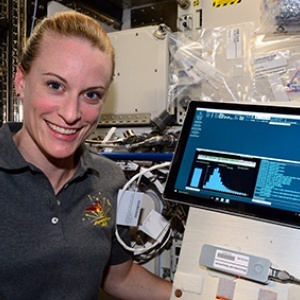 NASA astronaut Kate Rubins sequenced DNA in space for the first time ever using a portable sequencing device based on technology developed at UC Santa Cruz. (Photo credit: NASA)
