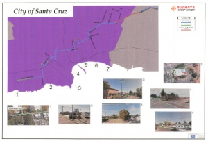 Illustration submitted as part of a grant application for funding from the California Public Utilities Commission shows the plan for how fiber-optic cables are installed from the west side of Santa Cruz headed south, eventually reaching Soledad. Installation includes above ground on utility poles and below ground using existing and new conduit. (Illustration from Sunesys)