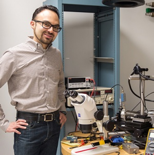 Lederman and physicist Jairo Velasco (above) are among the materials science researchers with laboratories in the facilities at 2300 Delaware Avenue. (Photo by C. Lagatutta)
