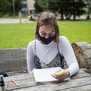 Senior Madi Strohauer said she appreciated learning over the summer from the comfort of her own home. (Photo by Carolyn Lagattuta)