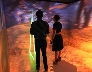 Computational media facilities at UCSC include the CAVE Lab for creating three-dimensional virtual environments that multiple users can interact with at the same time. (Photo by C. Lagattuta)