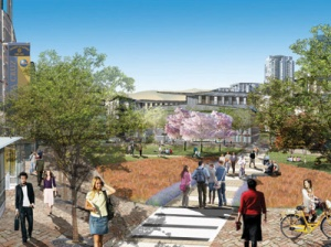 Pictured above is an artist's rendering of the education and research community envisioned by University Associates for the NASA Research Park at Moffett Field. Image courtesy of University Associates.