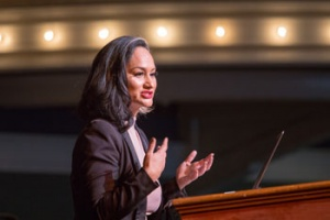 Carmen Perez (Rachel Carson College, psychology) one of the national co-chairs of the Women's March on Washington, and excecutive director of juvenile justice nonprofit The Gathering For Justice, inspired the crowd during her keynote address.