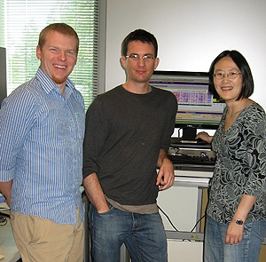 Graduate students Stephen Benz and Zack Sanborn and postdoctoral researcher Jing Zhu, all from the Haussler lab, are key members of the UCSC team involved in The Cancer Genome Atlas project. Photo by B. Wagman.