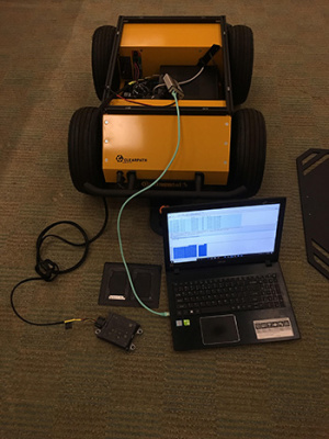 A graduate student with access to the labs downloaded sensor data from a robot so students could analyze it for their capstone project. (Photo by Veronica Hovanessian)