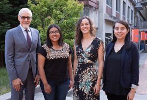 Engineering Dean Alexander Wolf with Girls in Engineering alumna Aleida Diaz Roque (Oakes '23, computer engineering), Nicole Baran, executive director of the Peggy and Jack Baskin Foundation (a significant funder of GIE), and GIE alumna Beatriz Collazzo, who is now a biomedical engineer. Photo: Steve Kurtz