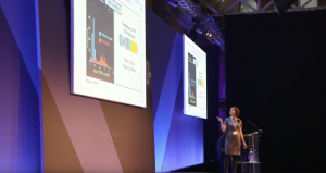 Karen Miga speaking at a conference organized by Oxford Nanopore, manufacturer of the pocket-sized sequencing device MinION used in this research