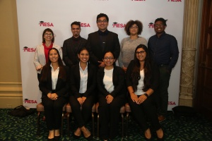 Front row, left to right: Nicolle Ayon Campos, Maelia Uy-Gomez, Angela Santos, Jazmin Maravilla Mendoza.  Back row, left to right: MEP Academic Counselor Jennifer Wood, Arturo Lopez, Frank Osorio, Erika Staud, Lawrence Lawson