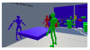 The third image is of an environment the team created to help them brainstorm social augmentations by 'bodystorming'--moving things around and discussing while in VR, to help support the creative process and produce stronger augmentation concepts.