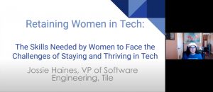 """Haines presenting her Diverse Voices 2021 talk, """"Retaining Women in Tech: The Skills Needed by Women to Help Face the Challenges of Staying and Thriving in the Tech Industry"""""""